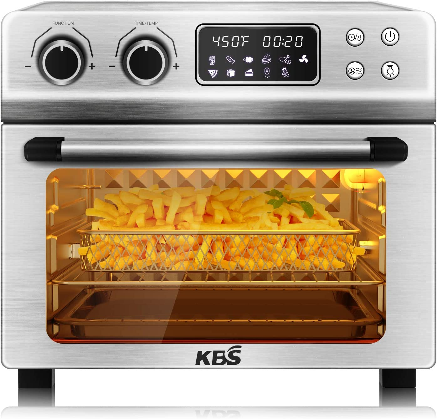 KBS 1700W Stainless Steel 10-in-1 Air Fryer Oven with Dehydrator/Rotisserie/Bake/Roast/Grill/Broil Function, 24QT Large Digital Countertop Toaster Oven, Max 450℉ & 60 Min Timer, 7 Accessories