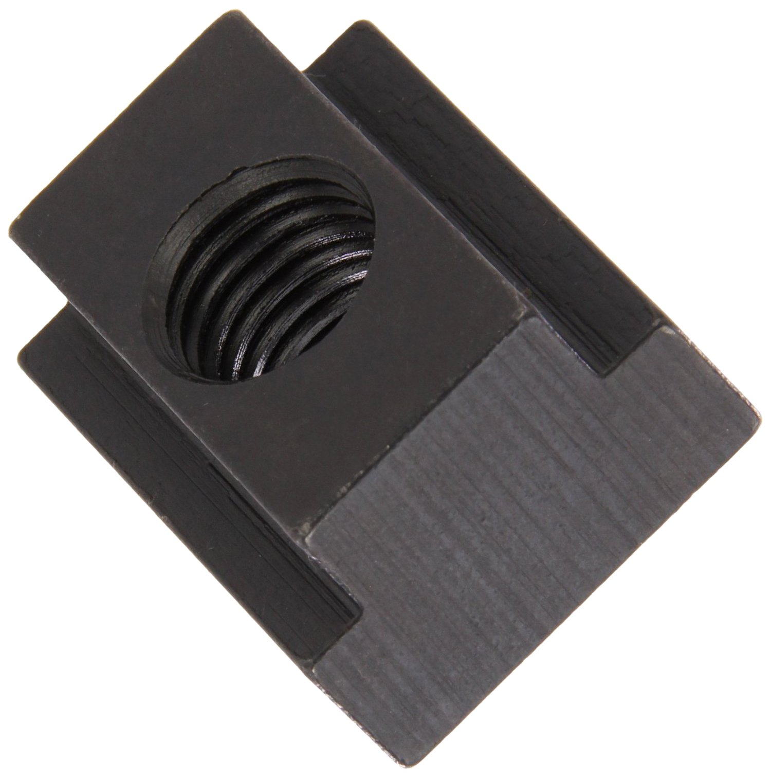 1018 Steel T-Slot Nut, Black Oxide Finish, Grade 2, Tapped Through, 3/4''-10 Threads, 1'' Height, 7/8'' Slot Depth, Made in US (Pack of 2)