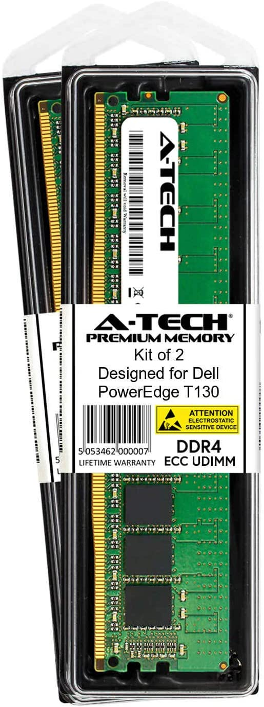 A-Tech 16GB Module for Dell PowerEdge T330 AT316655SRV-X1U3 Server Specific Memory Ram DDR4 PC4-17000 2133Mhz ECC Unbuffered UDIMM 2Rx8
