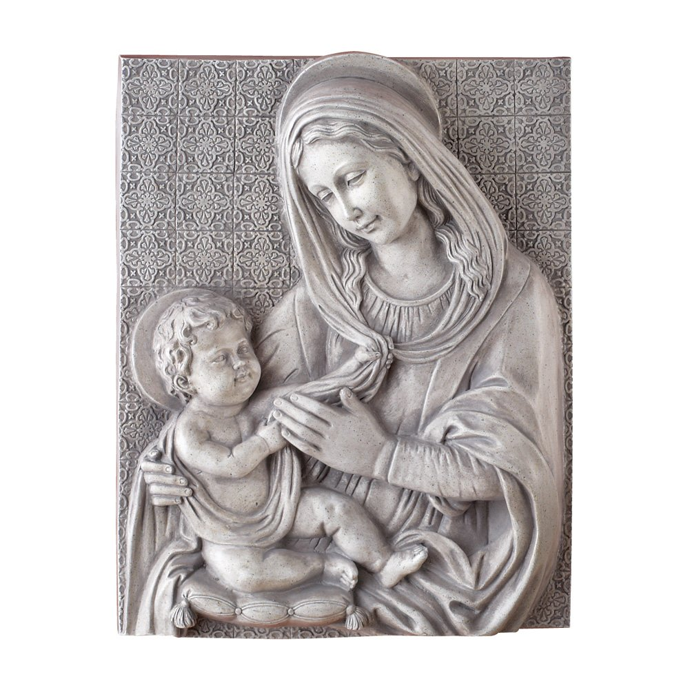 Collections Etc Mary and Baby Jesus Religious Wall Art Sculpture