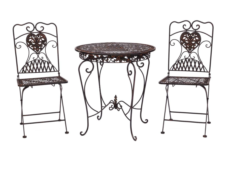 Gartentisch 2x Stuhl Eisen Antik Stil Bistromobel Gartenmobel