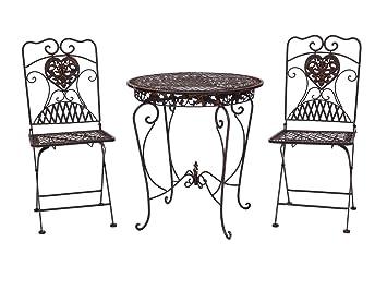 Gartentisch + 2x Stuhl Eisen Antik Stil Bistromöbel Gartenmöbel Braun