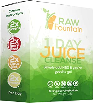1 Day Juice Cleanse Detox, 8 Powder Packets, Travel and Vegan Friendly, Weight Loss Program, All Natural, Includes Protein