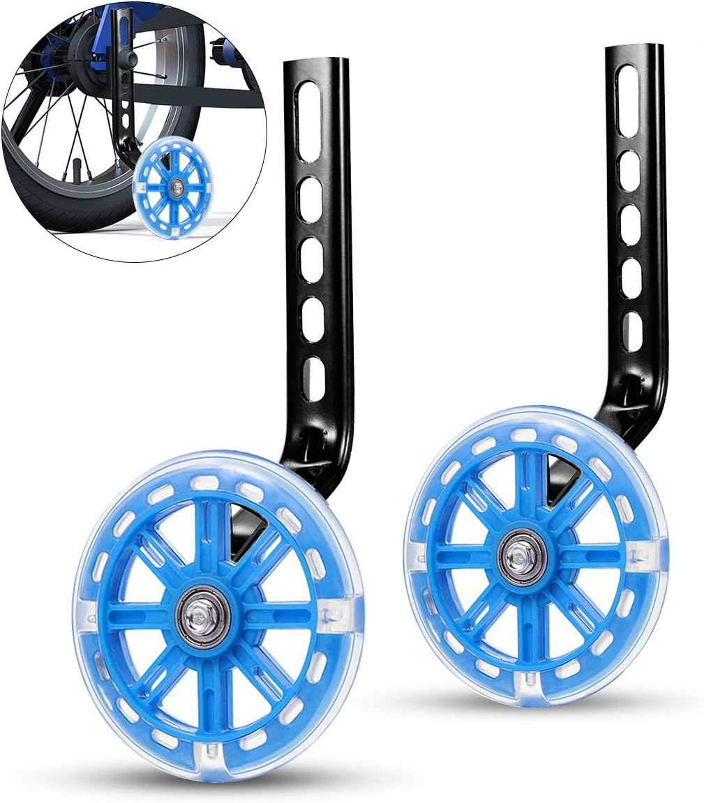 ZOSEN - Ruedas de entrenamiento para bicicleta infantil, estabilizadores de bicicleta, ruedas de apoyo para 12 14 16 18 20 pulgadas (1 par, azul)