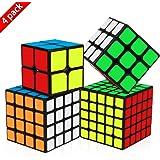 Dreampark スピードキューブ 4個セット (2X2 3X3 4X4 5X5)立体パズル スピードキューブ 回転スムーズ 競技専用ver.2.0 脳トレ プレゼント