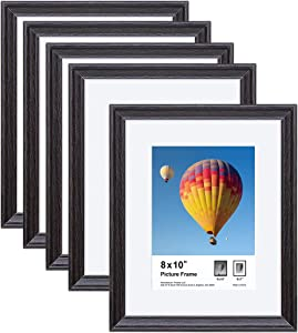 8x10 Picture Frames Set of 5, Photo Frames with HD Plexiglass for Pictures 5x7 with Mat or 8x10 Without Mat, Tabletop and Wall Mounting Display, Black