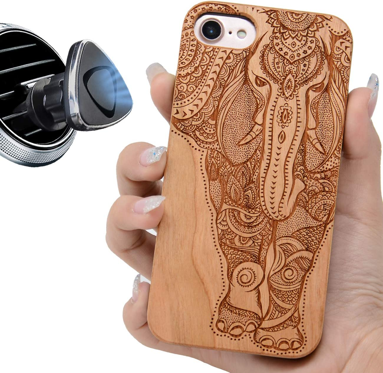 "iProductsUS Elephant Phone Case Compatible with iPhone SE (2020), iPhone 8, 7, 6/6S (4.7"") and Magnetic Mount, Wood Phone Cases Engraved Unique Elephant,Built-in Metal Plate,TPU Shockproof Covers"