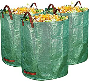 LiuWHweiXunDa Reusable Yard Waste Bags,Collapsible Trash Can,Reuseable Heavy Duty Gardening Bags,Garden Waste Bag,Collapsable Big Fallen Leaves Bags ,3-Pack 32Gallons Home Garden Bags (Color : Green)