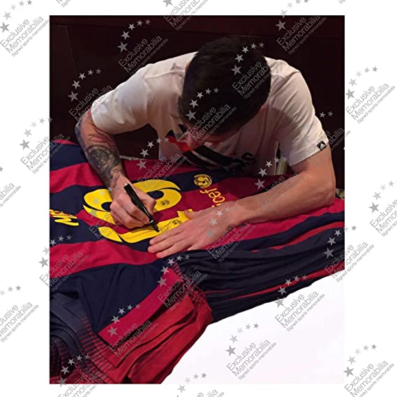 Lionel Messi Signed 2014-15 Barcelona Soccer Jersey at Amazons Sports Collectibles Store