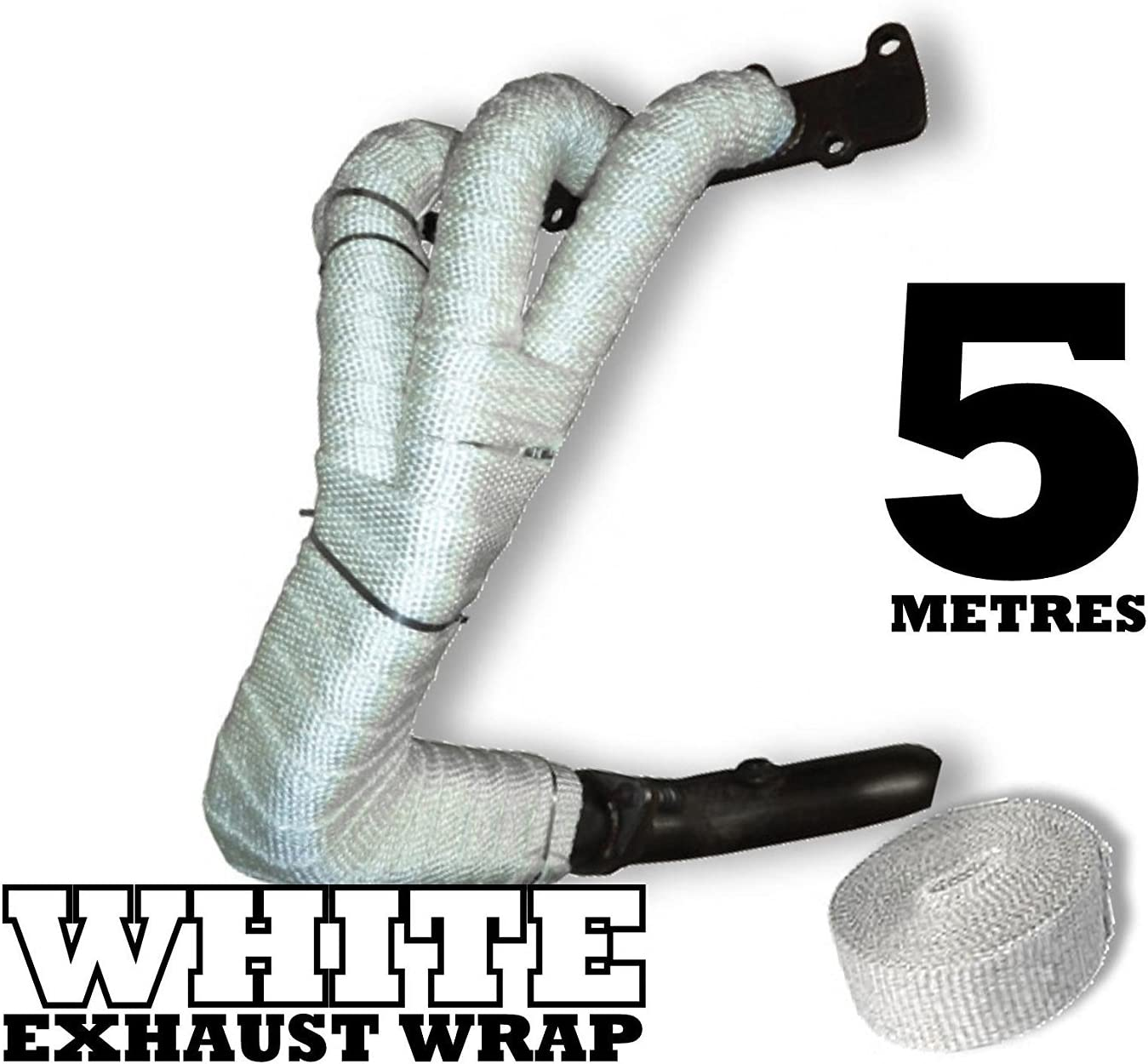 5m White Heat Wrap Tape Exhaust Manifold Downpipe High Temperature Fibre Bandage