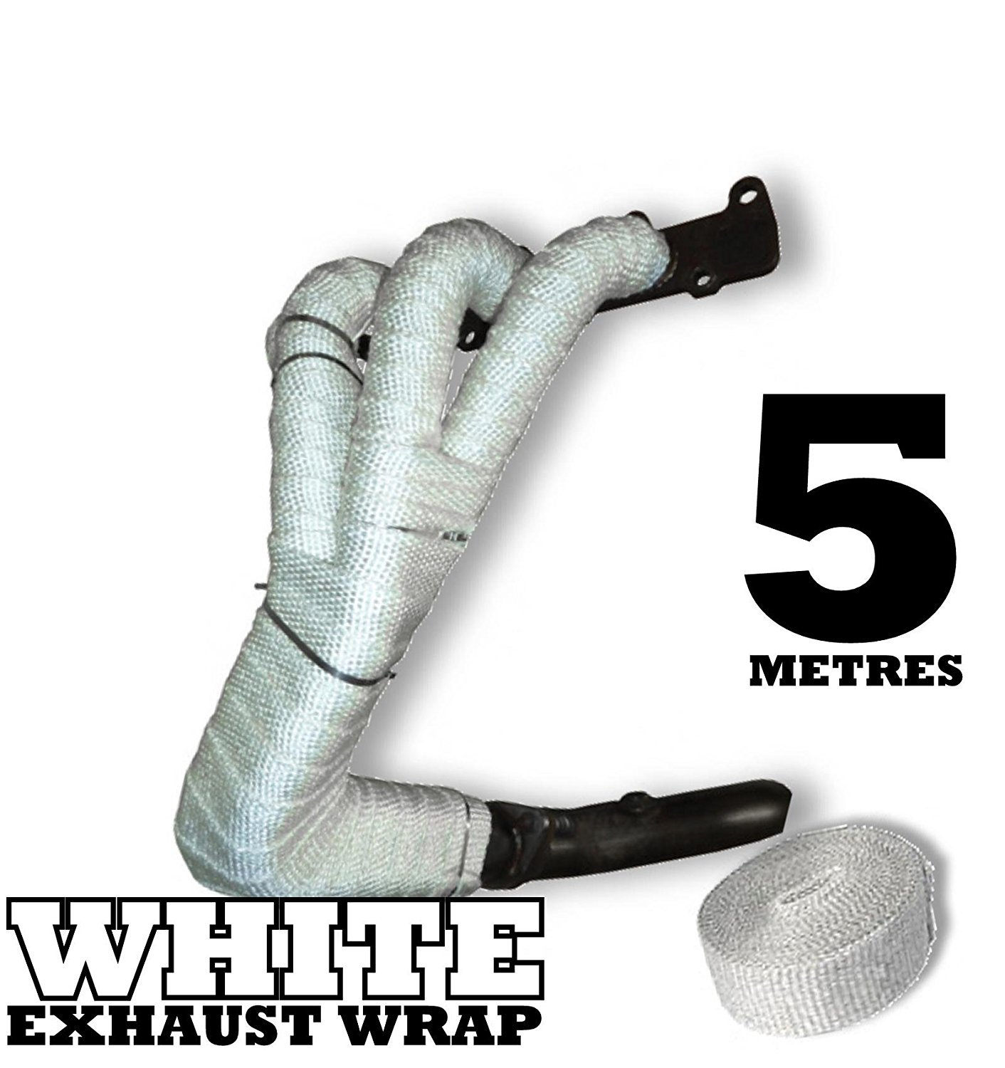 5m White Heat Wrap Tape Exhaust Manifold Downpipe High Temperature Fibre Bandage Autoinparts