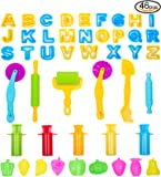 V-story 46pcs Clay and Dough Tools with Capital Letters, Extruder and Fruit Molds, Assorted Color