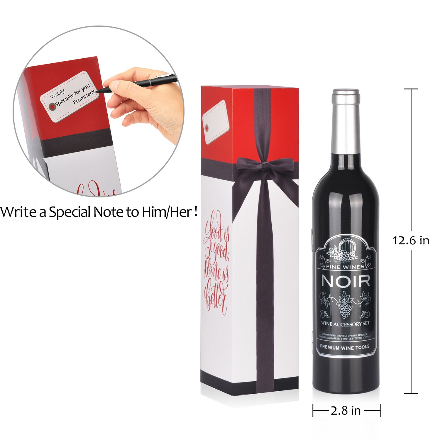 Wine Accessory Gift Set - Deluxe Wine Bottle Corkscrew Opener, Stopper, Aerator Pourer, Foil Cutter, Glass Paint Marker w/Reusable Drink Stickers in Gift Box, Wine Gifts for Wine Lover by Friend of Vines (Image #4)
