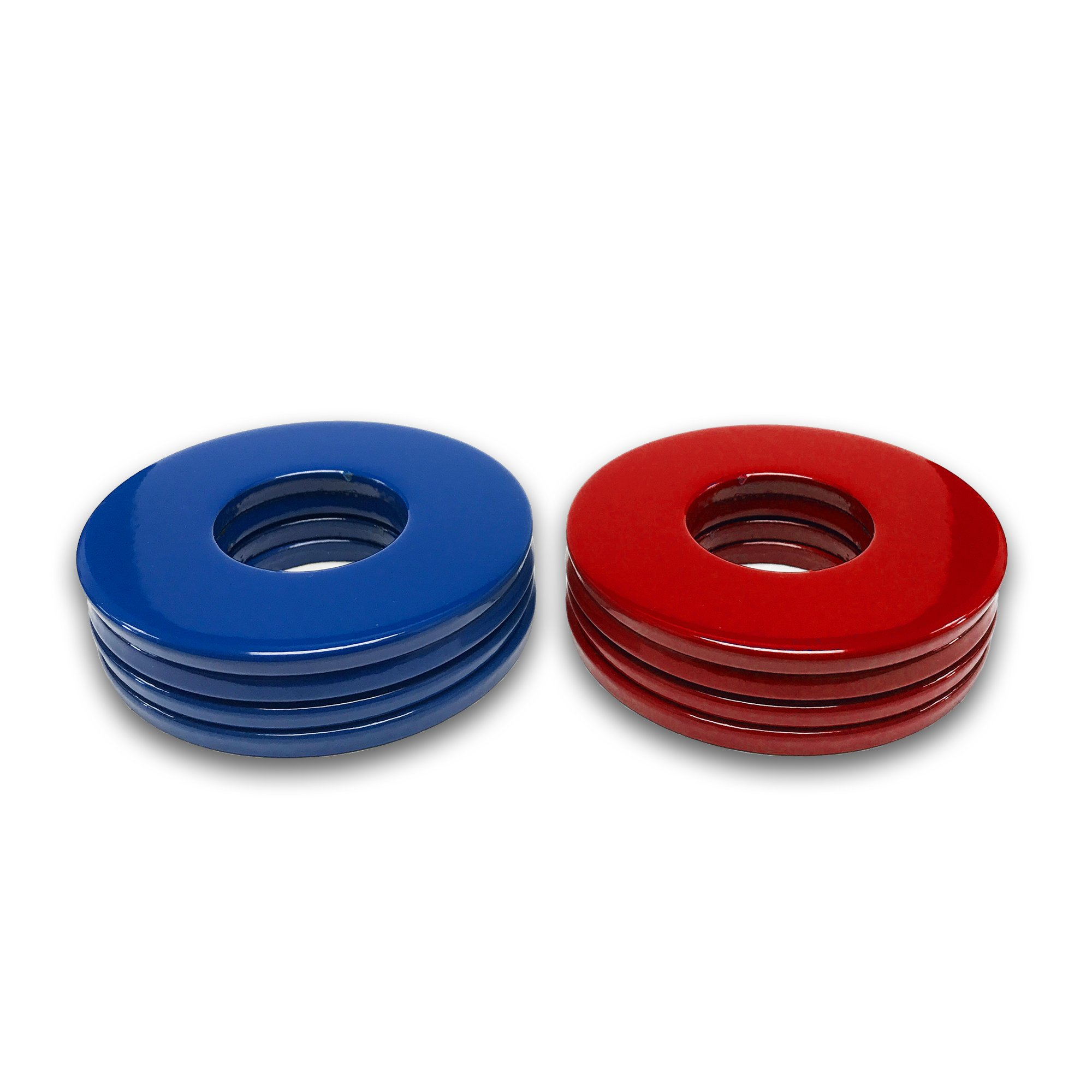 4 Blue/4 Red Powder Coated Replacement 2-1/2 Washer Toss Pitching Game Washers - High Gloss! by Washer Toss Pros