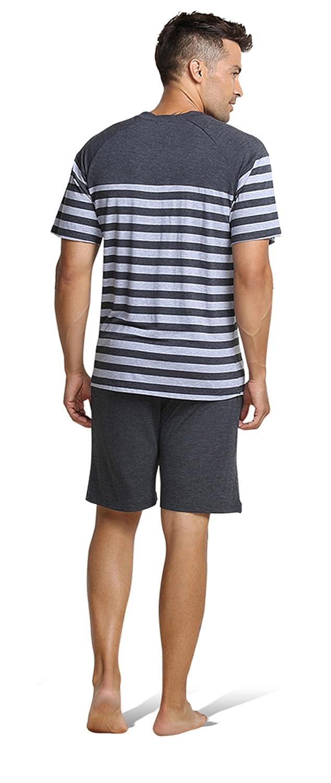 QianXiu Verano Conjunto de Ropa de Dormir Pijamas para Hombre Ropa de Dormir Rayada Ropa Interior de algodón Conjuntos de Pijama de Manga Corta para Hombre: ...