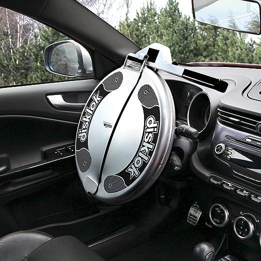 Medium, 15.4in - 16.3in Silver Thatcham Approved Disklok Security Device Full Cover Steering Wheel Lock