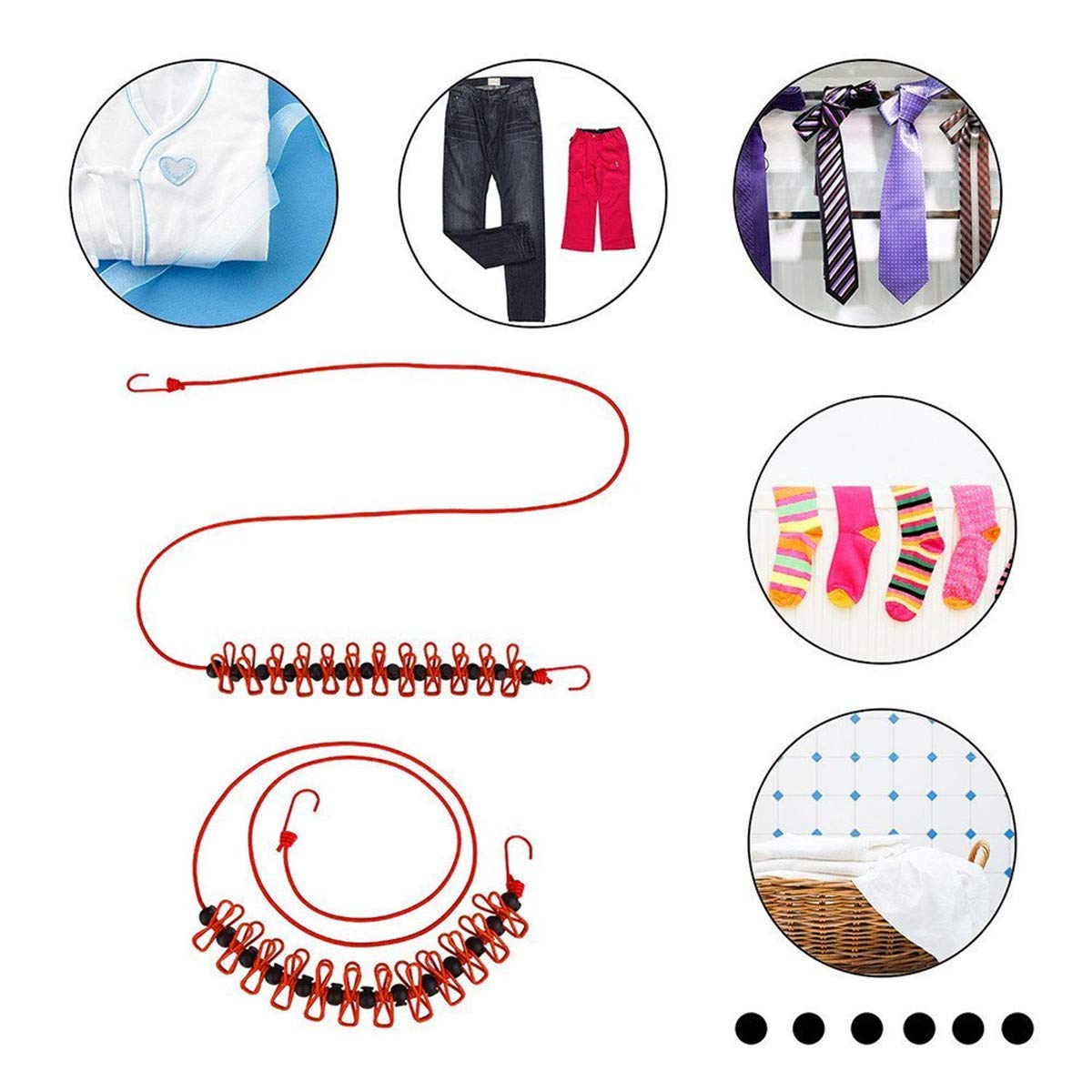 SUMMERDAISY Pack of 2 Retractable Clotheslines Portable Windproof Clotheslines Adjustable Clothes Line with 12pcs Clothespins for Outdoor Indoor Home Travel Laundry Drying Blue/&Red Color SD-5