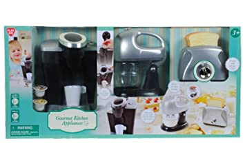 playgo pretend play gourmet kitchen appliance set single serve coffee maker mixer  u0026 toaster amazon com  playgo pretend play gourmet kitchen appliance set      rh   amazon com
