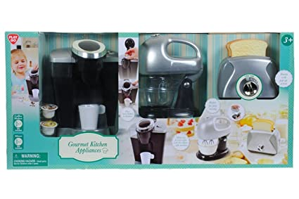 PlayGo Pretend Play Gourmet Kitchen Appliance Set Single Serve Coffee  Maker, Mixer U0026 Toaster