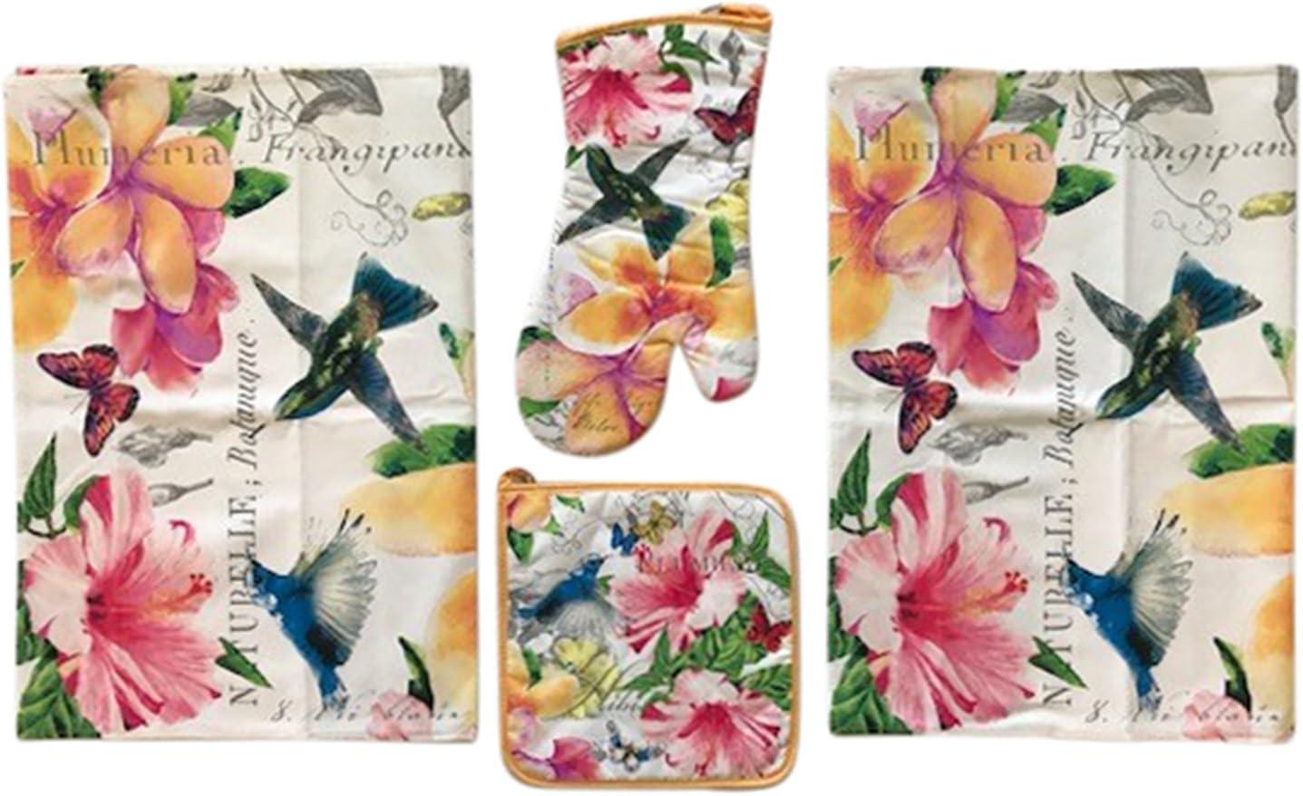 Michel Design Works Cotton Kitchen Tea Towel Peony Floral Butterflies NEW