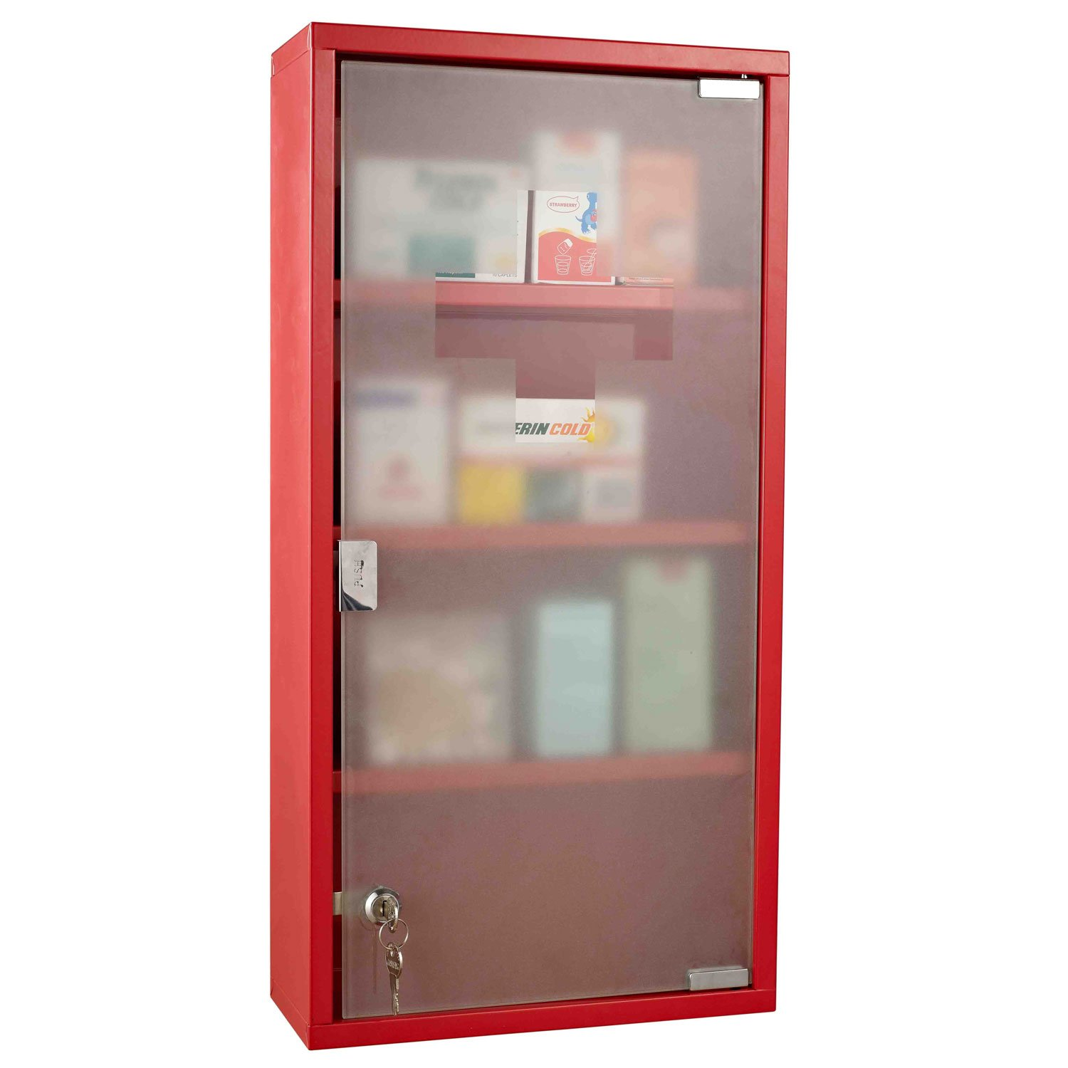 Homcom Red Steel Wall Mounted Medicine Cabinet With 3 Shelves + Security  Glass Door Lockable 60 Cm(h): Amazon: Kitchen & Home