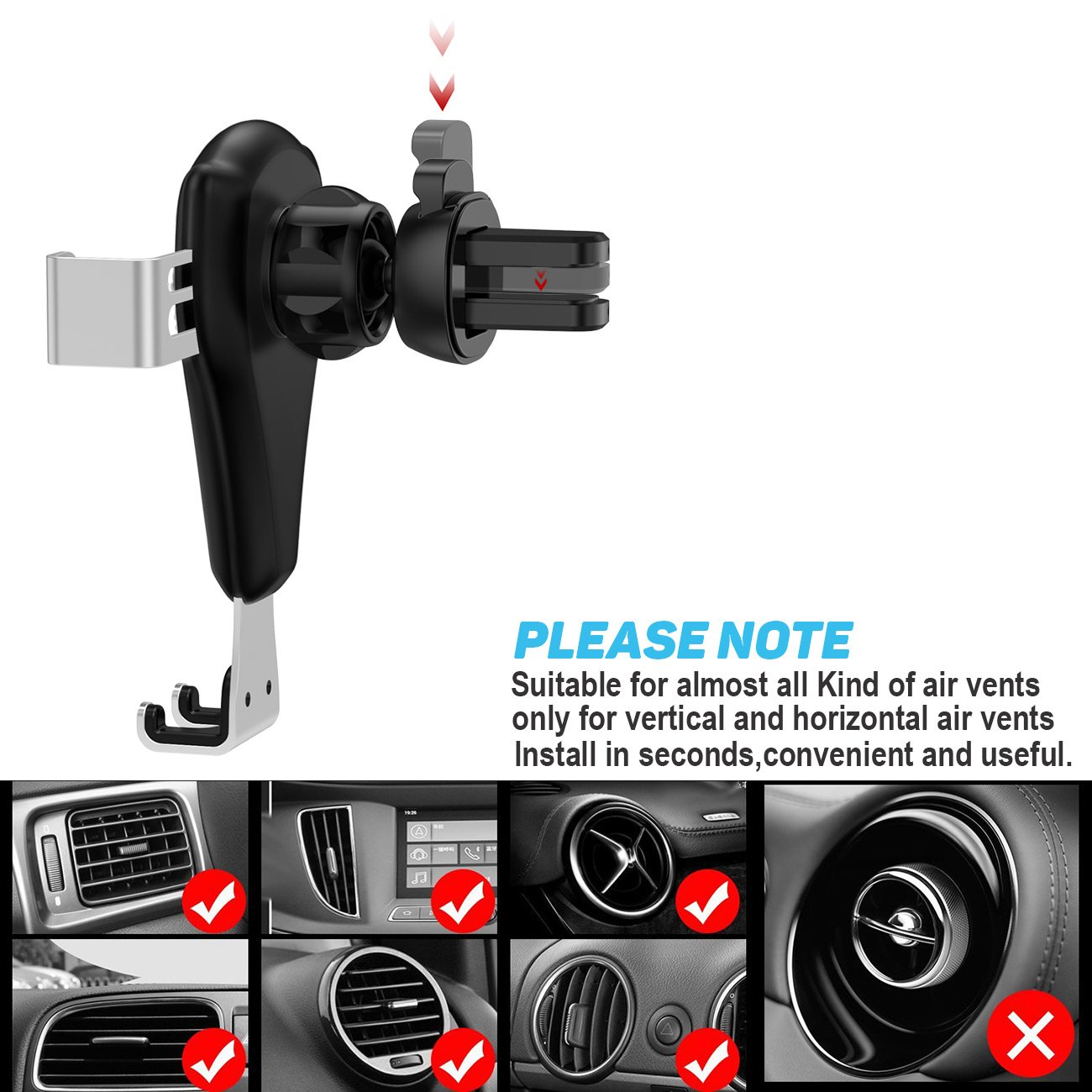 Car Phone Holder,Sztook Gravity Phone Mount,Universal Car Air Vent Mount Cradle Stand Holder for iPhone 7//7P//6s//6P//5S,Samsung Galaxy S5//S6//S7//S8,Google,LG,Huawei,Nexus,other Smartphones US-C-00067-SR
