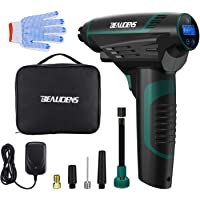BEAUDENS Cordless Tyre Inflator 150PSI with Battery Indicator, 4 Pressure Units, 5 Nozzles and LED Lights, Automatic Shut Down for Car Bicycle Motorbike Football Air Bed