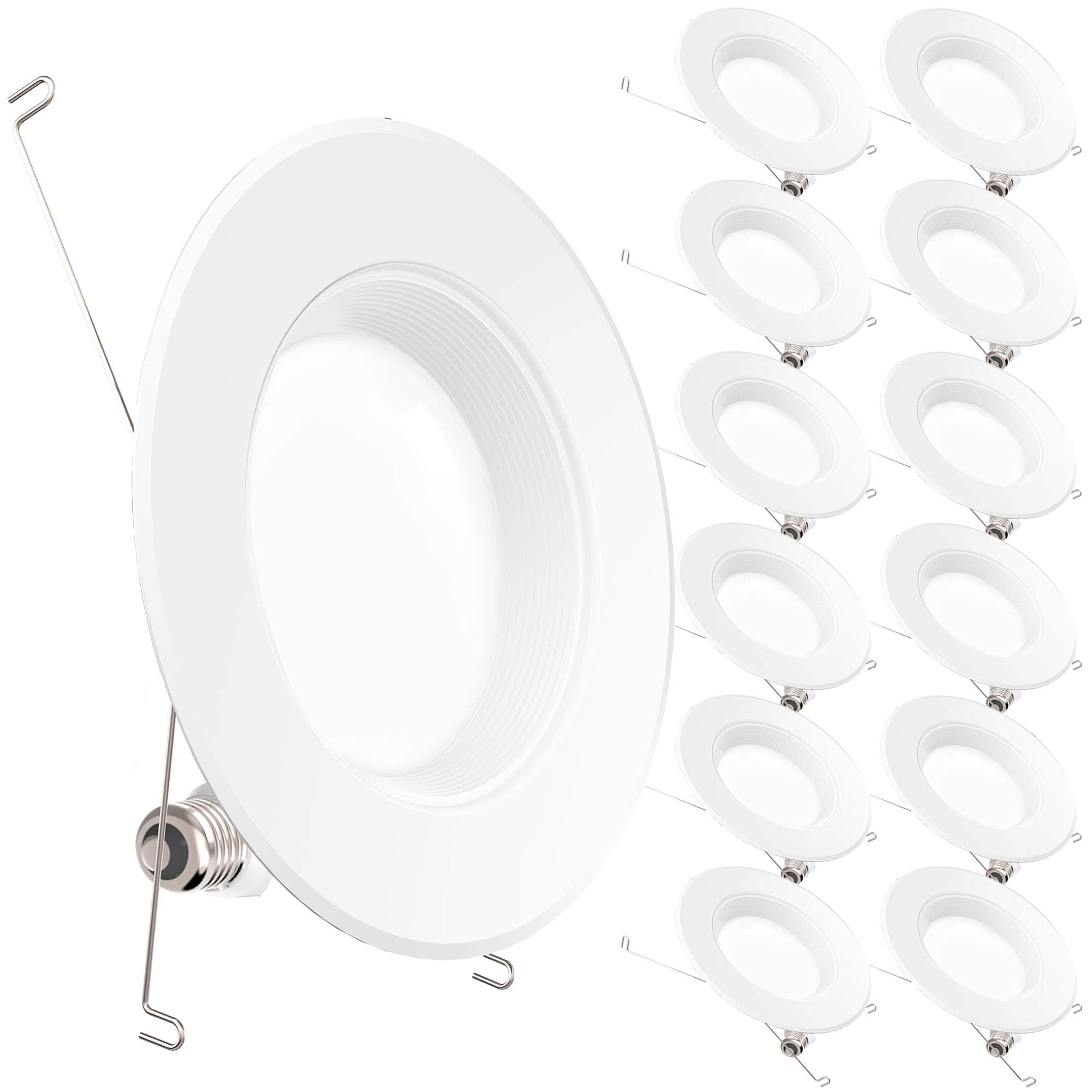 Sunco Lighting 12 Pack 5/6 Inch LED Recessed Downlight, Baffle Trim, Dimmable, 13W=75W, 5000K Daylight, 965 LM, Damp Rated, Simple Retrofit Installation - UL + Energy Star