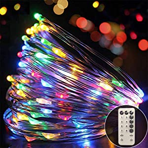 Ever Smart Fairy String Lights Curtain Lights Battery Operated with Remote Control Twinkle Dimmable String Lights Waterproof Lighting String for Christmas Party Wedding Patio Garden (Multi-Color)