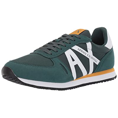 A|X Armani Exchange Men's Retro Running Sneaker, Green and White, 7M Medium US: Shoes