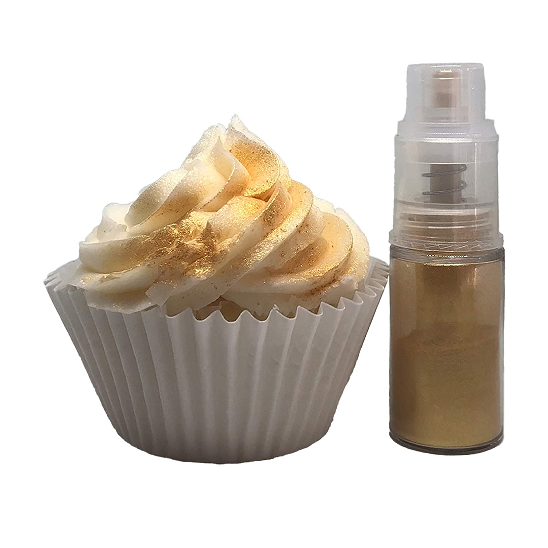 Edible luster dust Spray, Sparkling Dust Push Pump dispenser 4 gram for cake decoration,Food grade Paint food (Gold)