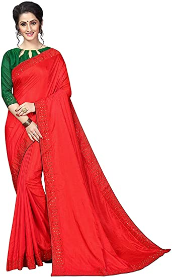 Buy Smit Fashion Women S Velvet And Georgette Party Wear Saree With Blouse Piece Red At Amazon In