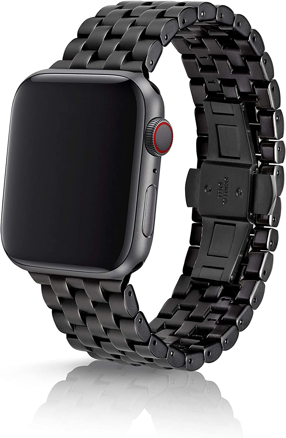 42/44mm JUUK Qrono Onyx Premium Watch Band Made for The Apple Watch, Using Aircraft Grade, Hard Anodized 6000 Series Aluminum with a Solid Stainless Steel Butterfly deployant Buckle (Matte Black)