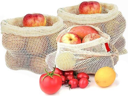 Bolsa de Verduras de Reutilizable, 3 Bolsas de Frutas de Algodón Reutilizables Para Almacenar y Transportar Frutas u Objetos, Bolsas De Almacenamiento De Frutas y Verduras, Bolsas Vegetarianas: Amazon.es: Hogar