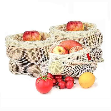 Bolsa de Verduras de Reutilizable, 3 Bolsas de Frutas de ...