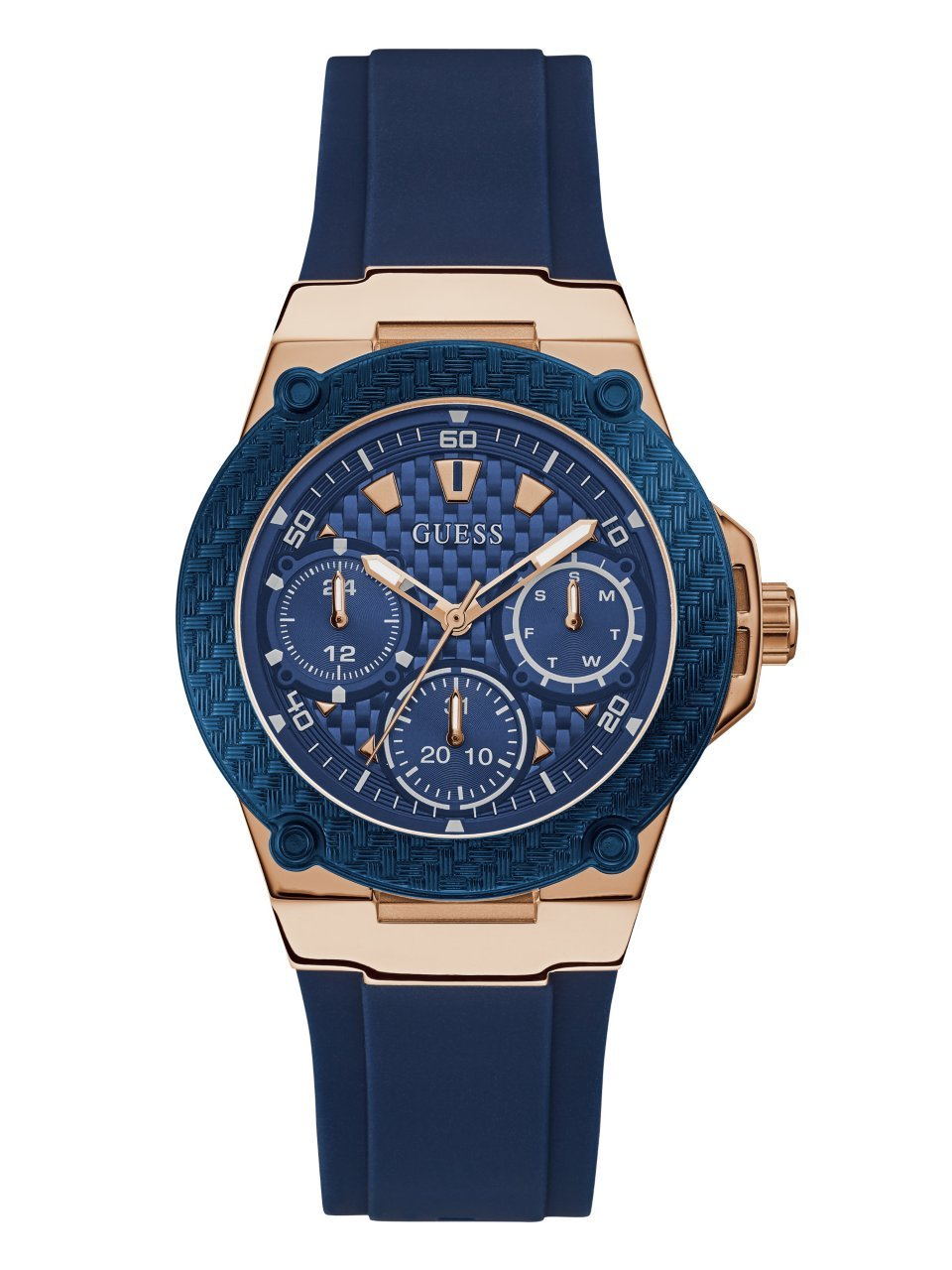 GUESS  Rose Gold-Tone + Iconic Blue Stain Resistant Silicone Watch with Day, Date + 24 Hour Military/Int'l Time. Color: Blue (Model: U1094L2)