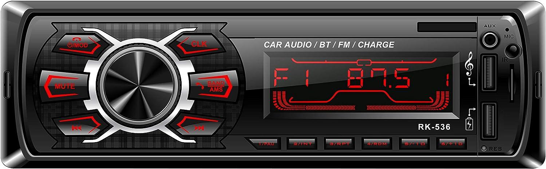 Radio de Coche, Rixow Autoradio FM Estéreo Bluetooth 60W*4 Doble USB Carga Rápida Reproductor MP3 Llamadas Manos Libres 7 Colores de Luz de Fondo