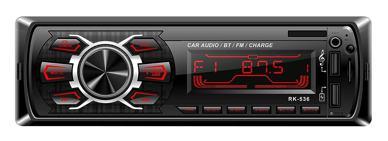 Rixow Autoradio FM Est/éreo Bluetooth 60W*4 Doble USB Carga R/ápida Reproductor MP3 Llamadas Manos Libres 7 Colores de Luz de Fondo Radio de Coche