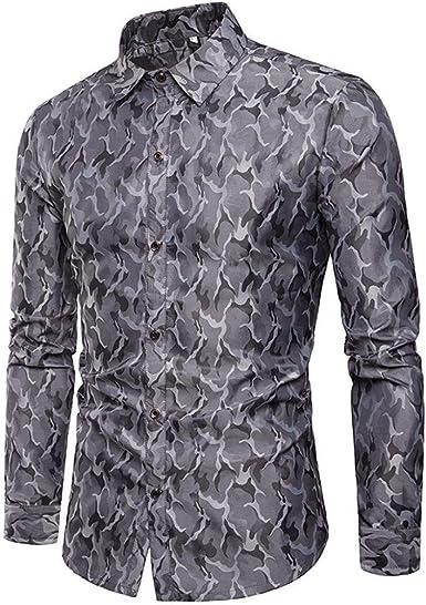 Camisa De Los Hombres Slim Fit Camuflaje Largo Formal Top ...