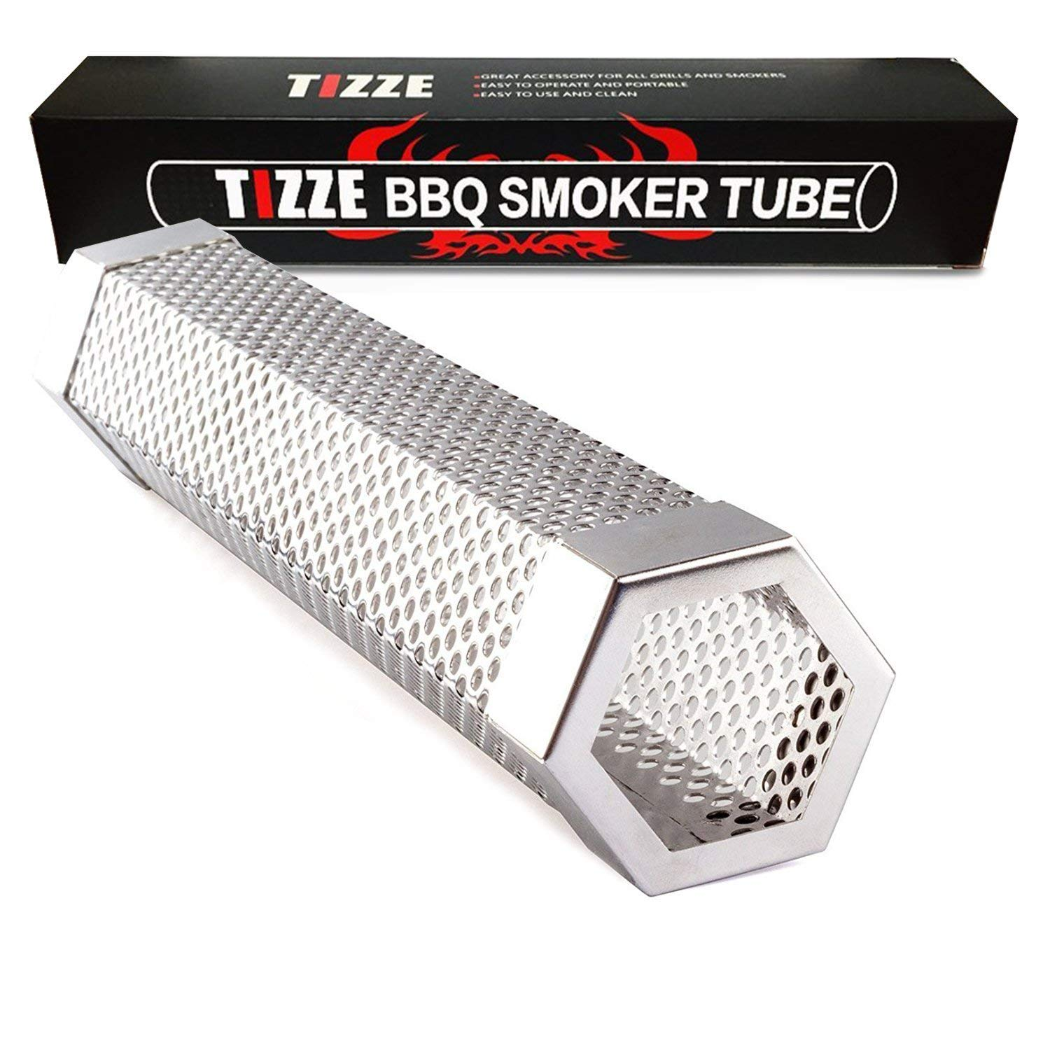 TIZZE Pellet Smoker Tube 12'' Perforated BBQ Smoke Generator to Add Smoke Flavor to All Grilled Foods by TIZZE