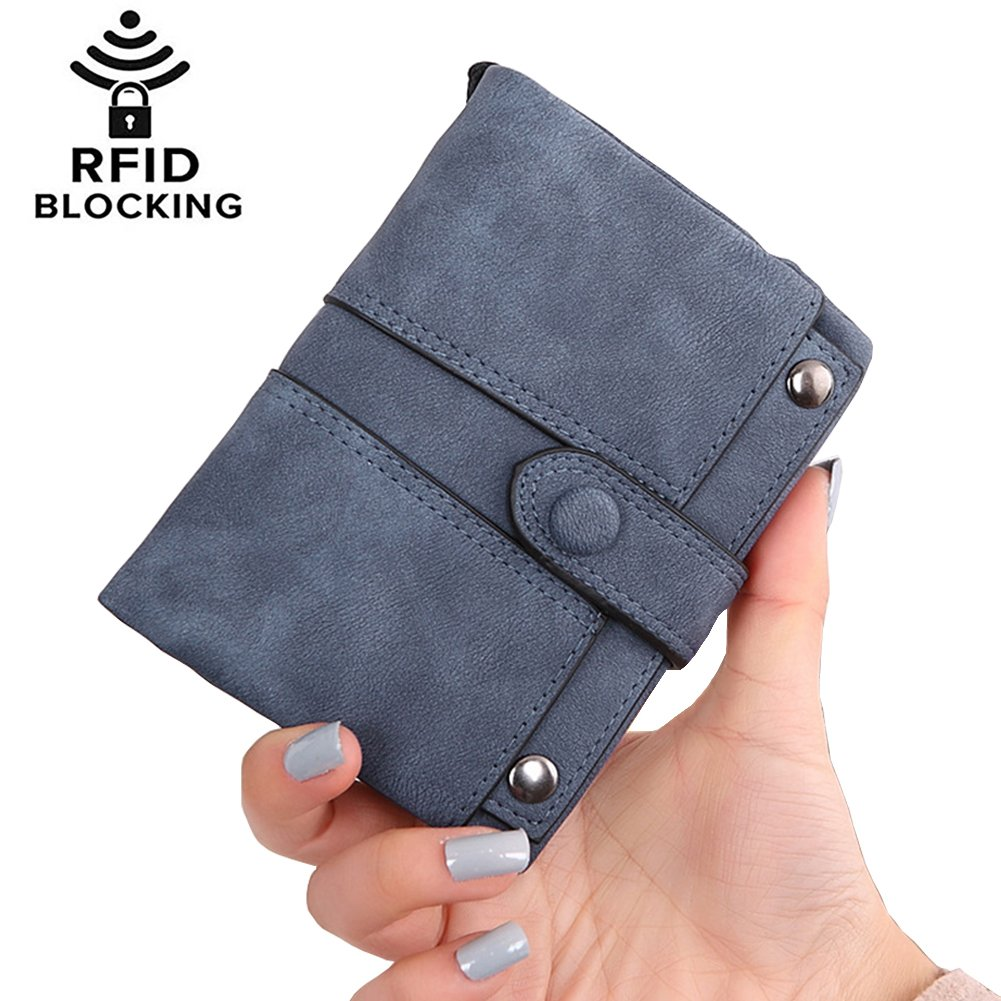 Women's RIFD Blocking Soft Leather Wallet Large Capacity Zipper Travel Purse with Removable Wrist Strap Cute Card Holder Coin Change Cash Organizer (3-With strap-Navy blue)