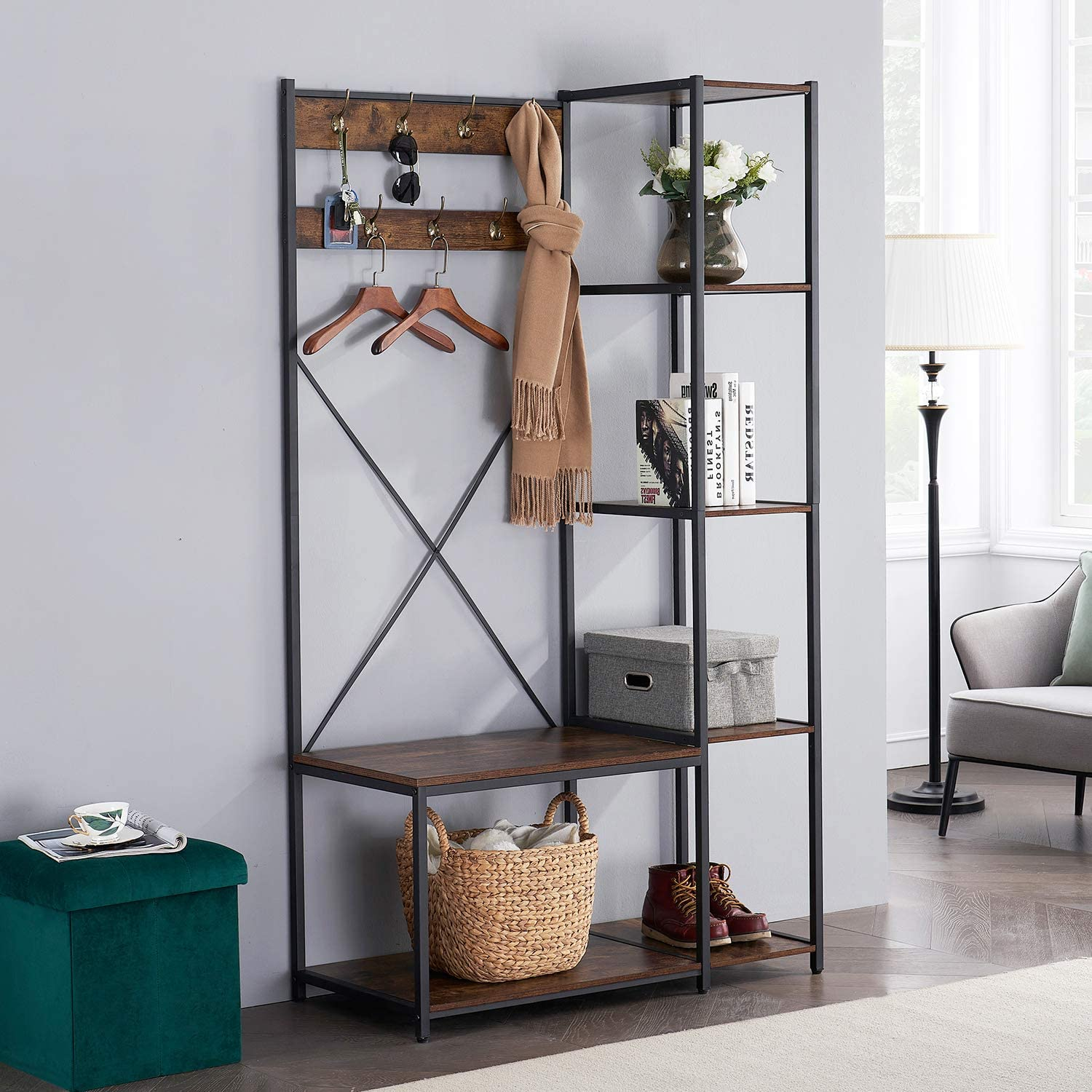 VECELO Coat Rack Bench Hall Tree with 7 Hooks Entryway Storage 4 Shelves and 1-Tier Shoe Shelf,Wood Look Accent Furniture Metal Frame,4 in 1 Design, Easy Assembly,Brown