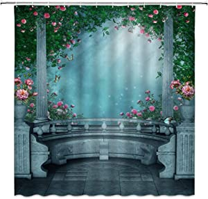 jingjiji Fantasy Garden Shower Curtain Butterfly Rose Flowers Green Vine Arch Spring Fairy Tale Jungle Dreamy Romantic Bathroom Decoration Curtains Polyester Fabric Waterproof with Hook 70 x 70 Inch