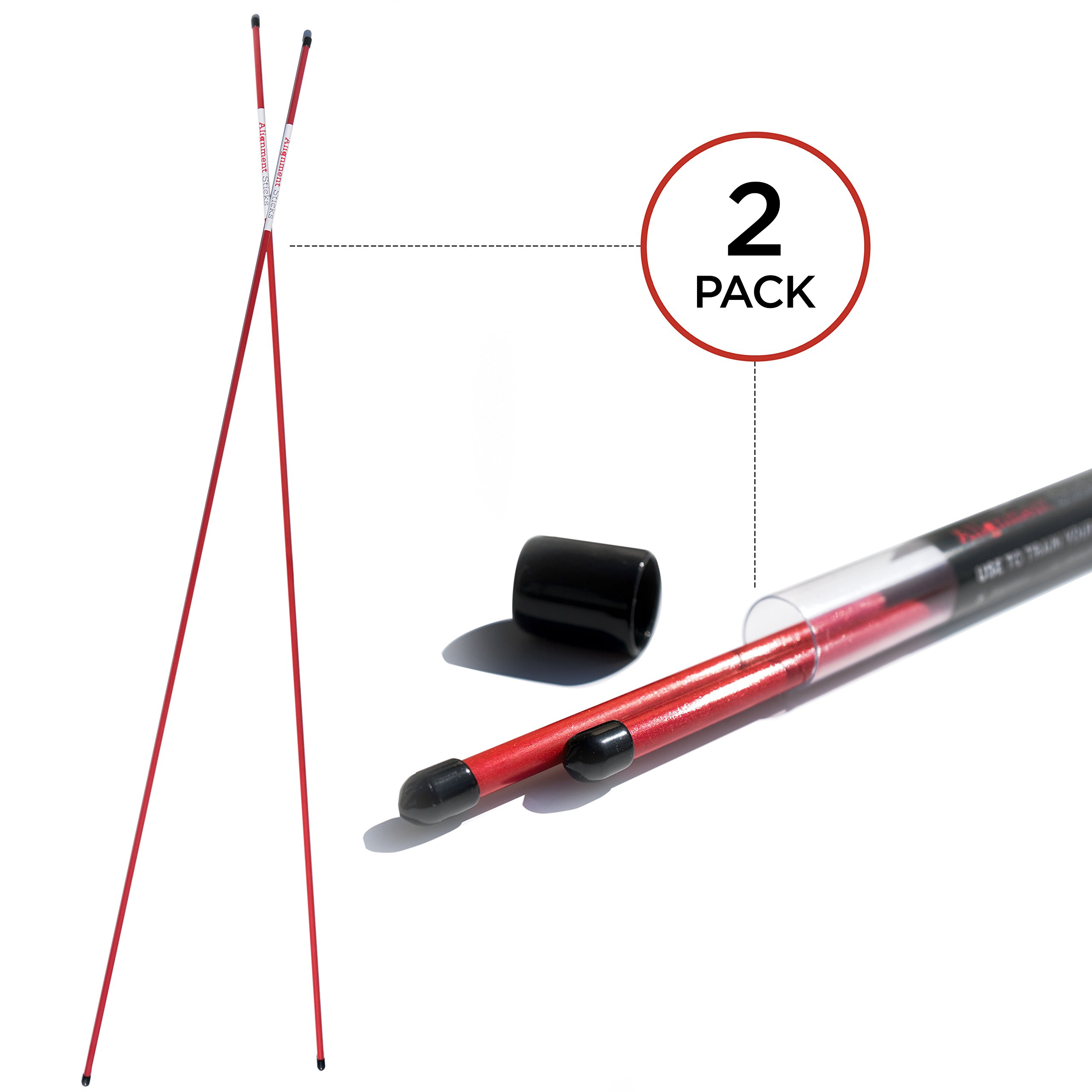 SHAUN WEBB Golf Alignment Sticks. Practice Rods, Training Accessories and Equipment, Aiming, Putting, Full Swing Trainer, Shoulder, Hip and Posture Corrector with Clear Tube Case. Best Golfer Gift by SHAUN WEBB