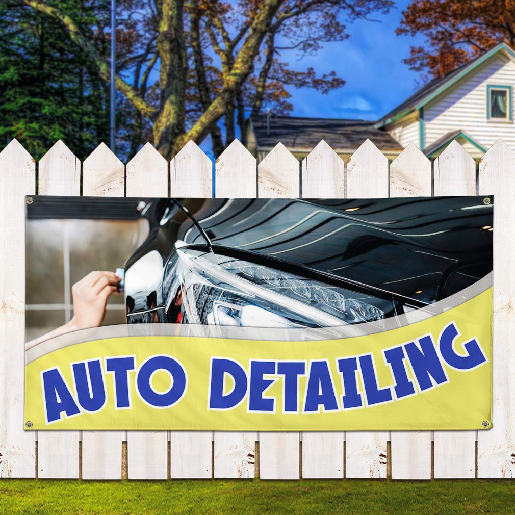 Vinyl Banner Sign Auto Detailing #1 Style I Automotive Marketing Advertising Black One Banner 44inx110in Multiple Sizes Available 8 Grommets