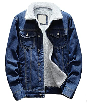 d95c0ffd5868 Beskie Men's Sherpa Lined Denim Jacket Button Down Classic Trucker Jackets  Warm Casual Quilted Jeans Coats Outerwear at Amazon Men's Clothing store: