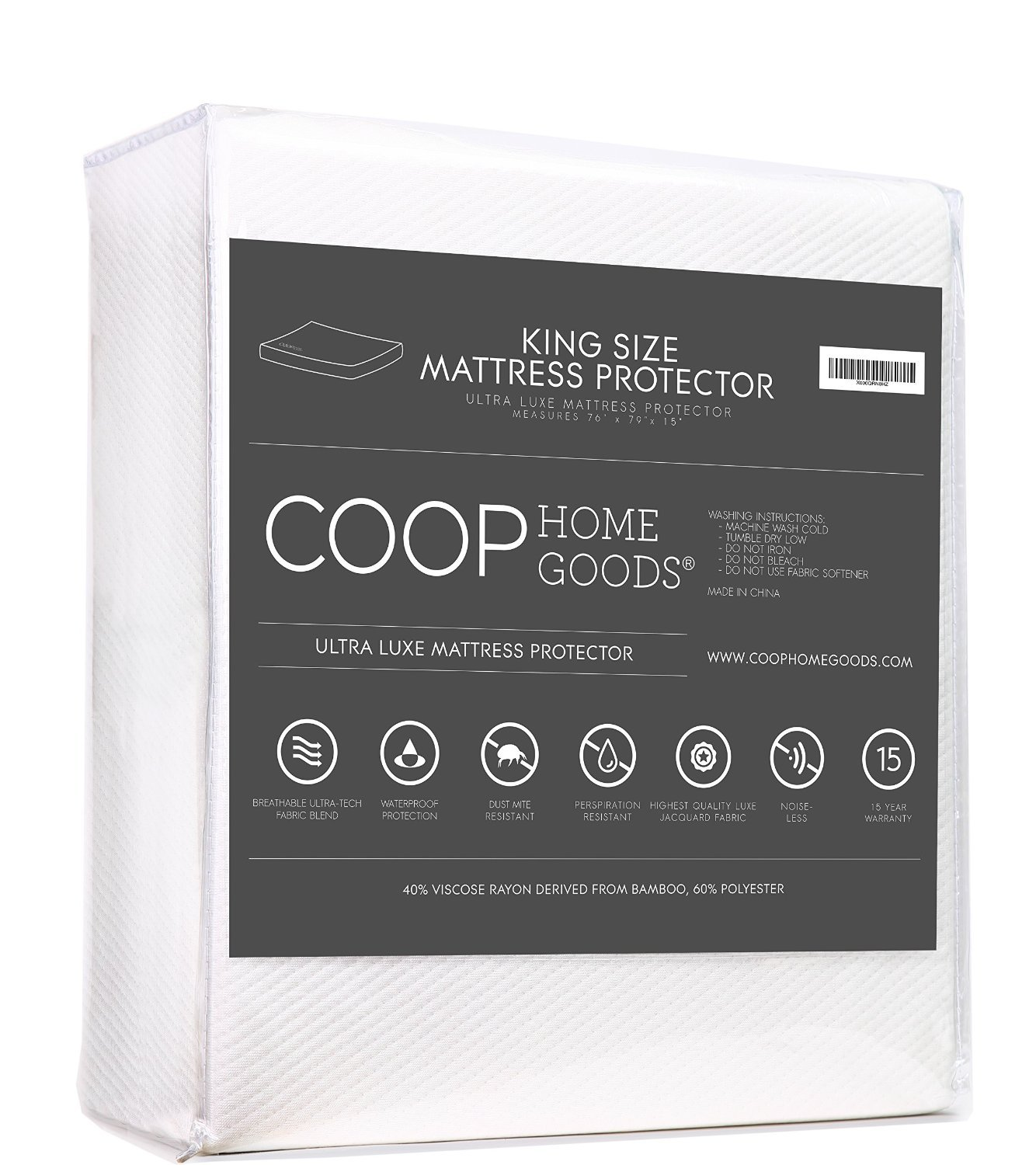 Lulltra Waterproof Mattress Pad Protector Cover by Coop Home Goods - Cooling Waterproof Hypoallergenic Topper - King - White-15 year warranty SYNCHKG059140
