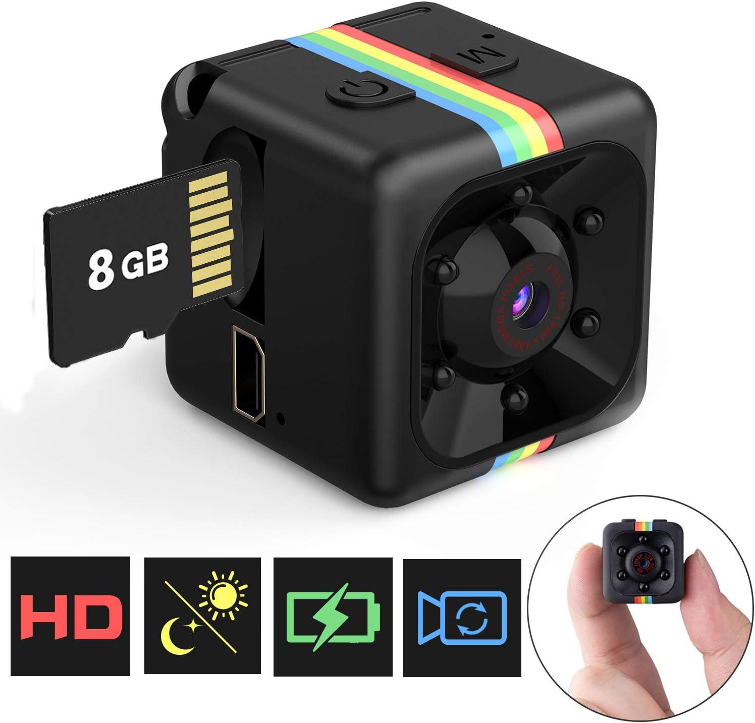 Mini Cámara Espía Oculta Mini Cámara de Vigilancia con Tarjeta SD de 8GB, 1080P HD Grabadora de Video Portátil Camaras de Seguridad con Detección de Movimiento IR Visión Nocturna (Non-WiFi)