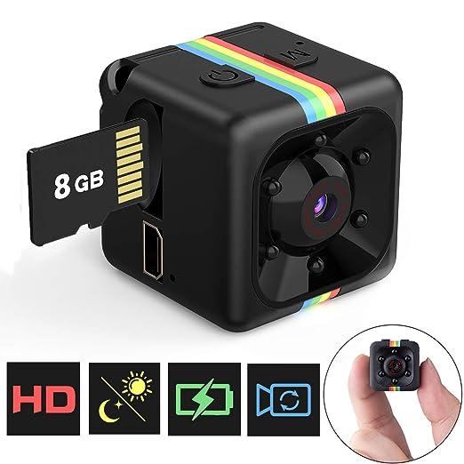 Mini Cámara Espía Oculta Mini Cámara de Vigilancia con Tarjeta SD de 8GB, 1080P HD Grabadora de Video Portátil Camaras de Seguridad con Detección de ...