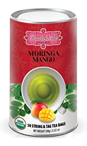 Brew La La Organic Moringa Caffeine Free Herbal Tea - Mango Flavor - 50 Tea Bags - Superfood Tea - Keto/Paleo Diet Compatible
